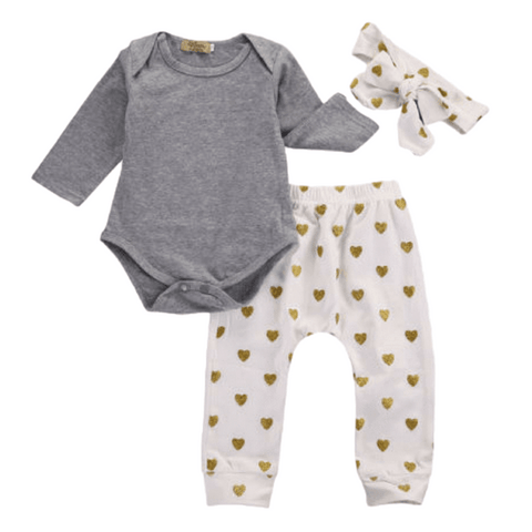Gold Heart Outfit - Rowley's Baby Boutique  - Express U.S. Delivery
