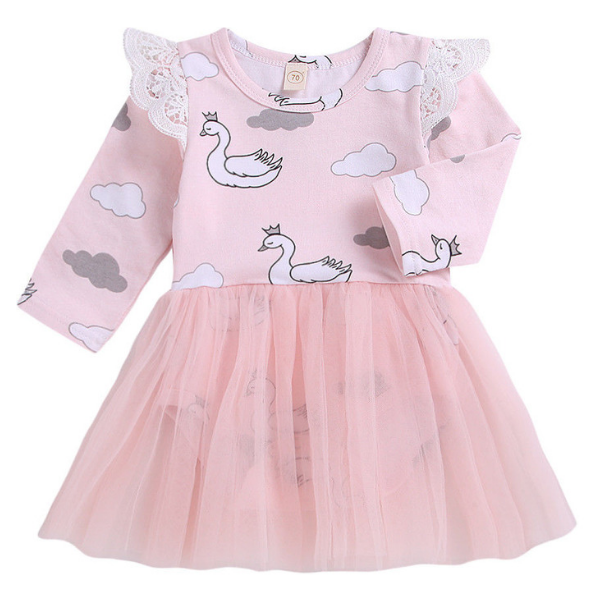 Amelia's Swans Dress - Rowley's Baby Boutique  - Express U.S. Delivery
