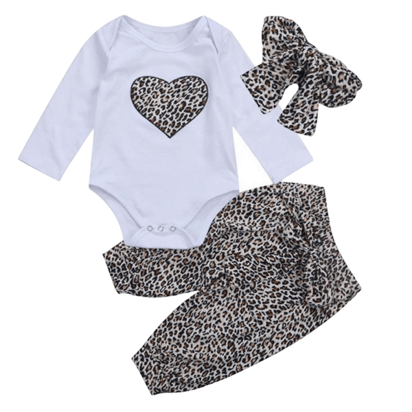 Leopard Heart Outfit - Rowley's Baby Boutique  - Express U.S. Delivery