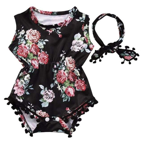 Black Floral Sunsuit - Rowley's Baby Boutique  - Express U.S. Delivery