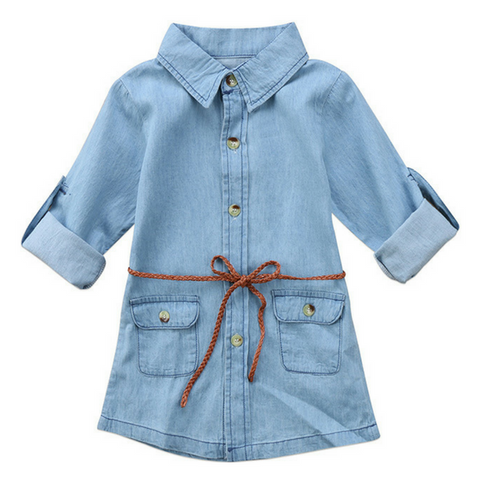 Denim Mini Dress - Rowley's Baby Boutique  - Express U.S. Delivery