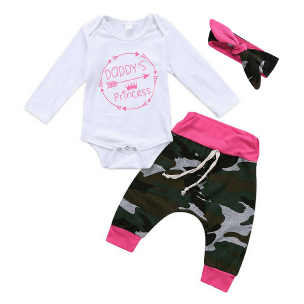 Daddy's Princess Camo Set - Rowley's Baby Boutique  - Express U.S. Delivery