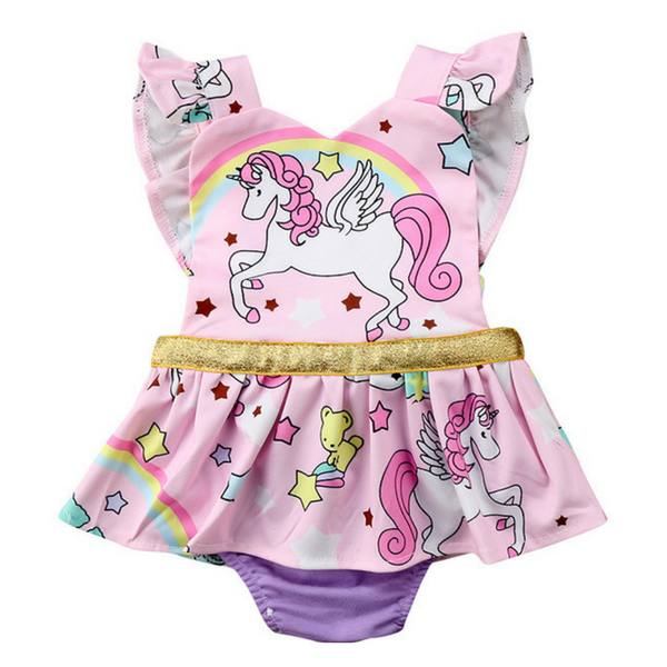 Ella's Unicorn Playsuit - Rowley's Baby Boutique  - Express U.S. Delivery