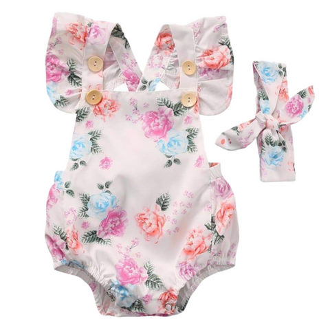 Claire Floral Sunsuit - Rowley's Baby Boutique  - Express U.S. Delivery
