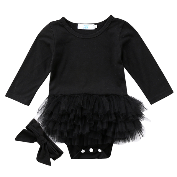 Black Tutu Playsuit - Rowley's Baby Boutique  - Express U.S. Delivery