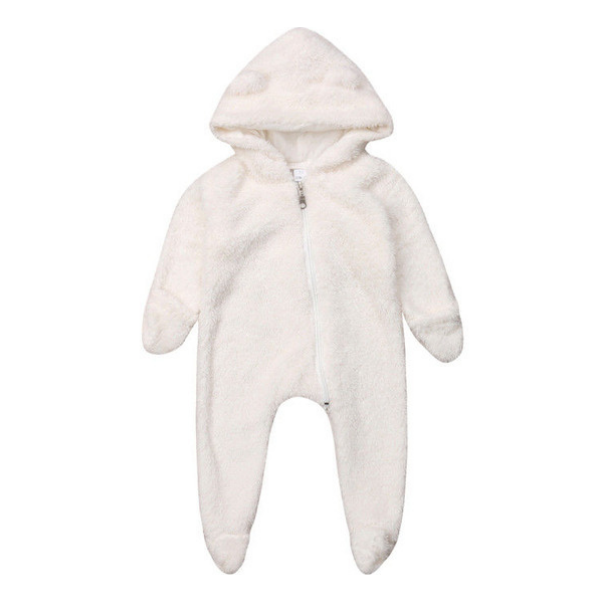 Fleece White Romper - Rowley's Baby Boutique  - Express U.S. Delivery