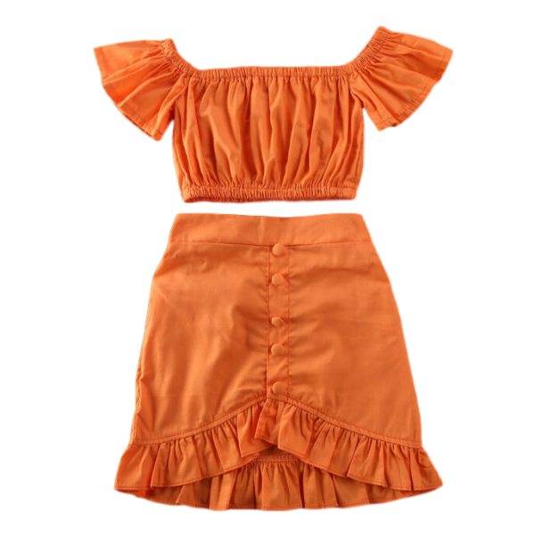 Orange Skirt Set