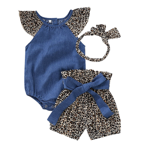 Denim Leopard Set - Rowley's Baby Boutique  - Express U.S. Delivery
