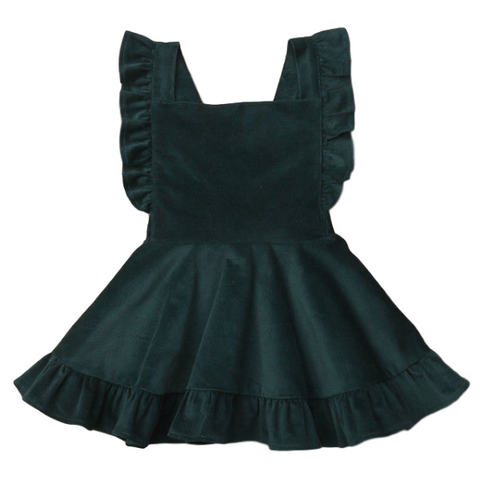 Green Corduroy Dress - Rowley's Baby Boutique  - Express U.S. Delivery