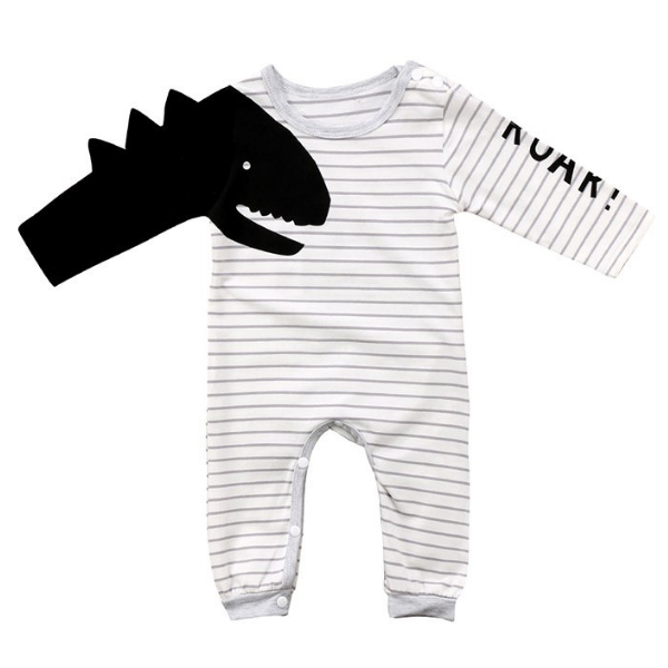 Dinosaur Striped Romper - Rowley's Baby Boutique  - Express U.S. Delivery