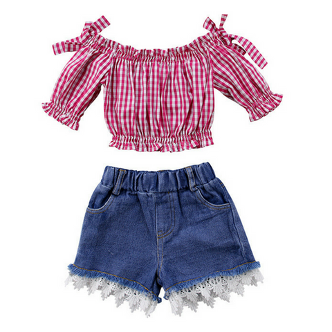 Harper's Plaid Denim Set - Rowley's Baby Boutique  - Express U.S. Delivery