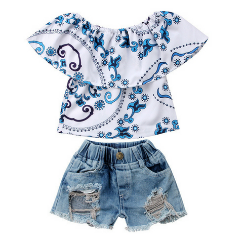 Ella's Denim Outfit - Rowley's Baby Boutique  - Express U.S. Delivery