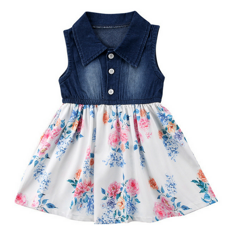 Denim Floral Dress - Rowley's Baby Boutique  - Express U.S. Delivery