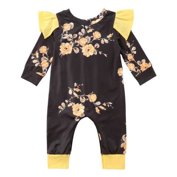 Fly Floral Romper - Rowley's Baby Boutique  - Express U.S. Delivery