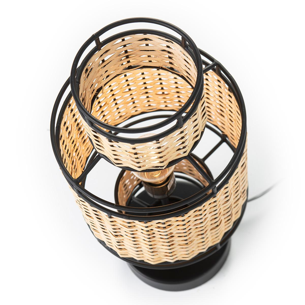 Candeeiro de Mesa Metal Preto/Rattan Natural TH618371