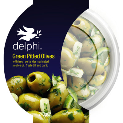 Delphi green pitted olives with dill & herbs