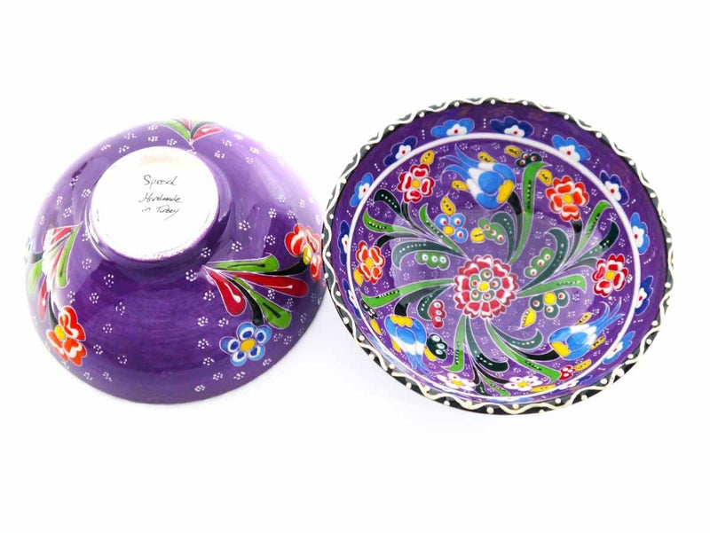 Turkish ceramic bowls purple colour back and front
