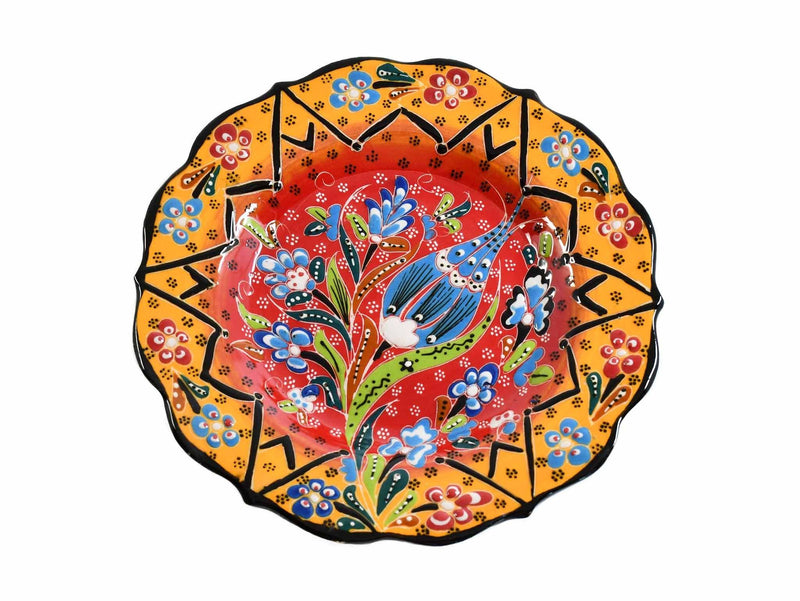 25 cm Turkish Plate Hexagon Flower Collection Green Red