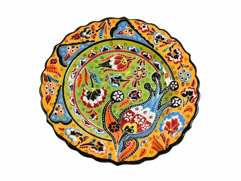 18 cm Turkish Plate Flower Collection Two Tone Yellow Ceramic Sydney Grand Bazaar 3