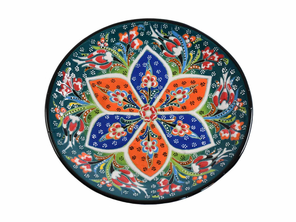 18 cm Turkish Plate Flower Round Collection Green Ceramic Sydney Grand Bazaar 1