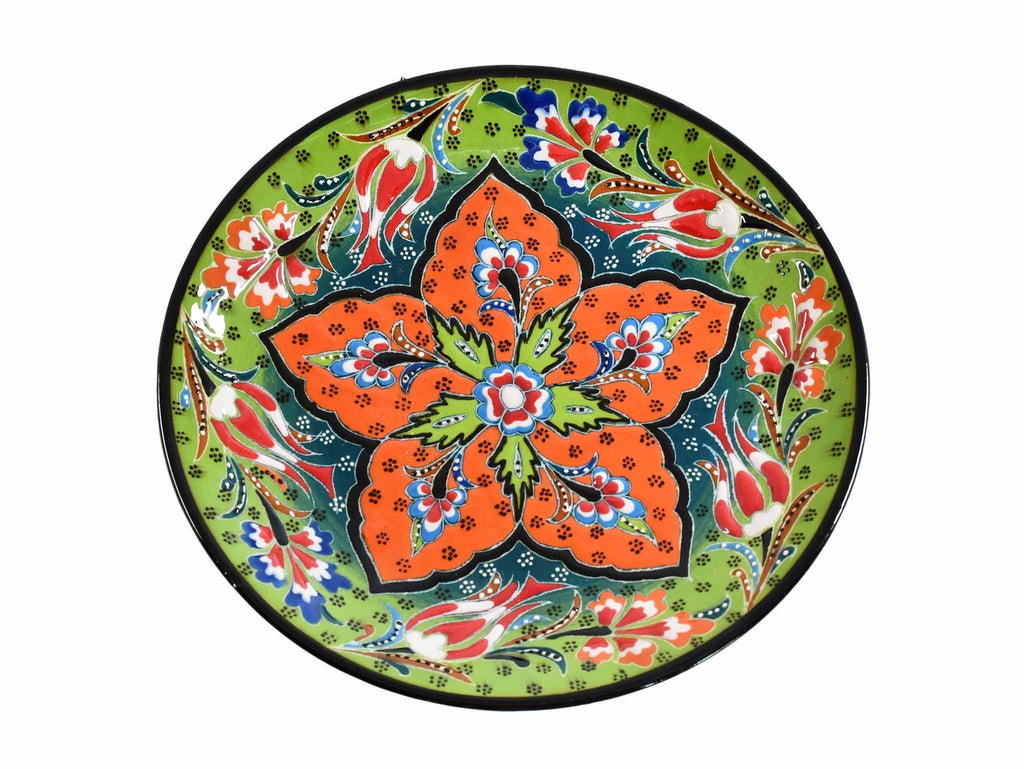 18 cm Turkish Plate Flower Round Collection Light Green Ceramic Sydney Grand Bazaar 1