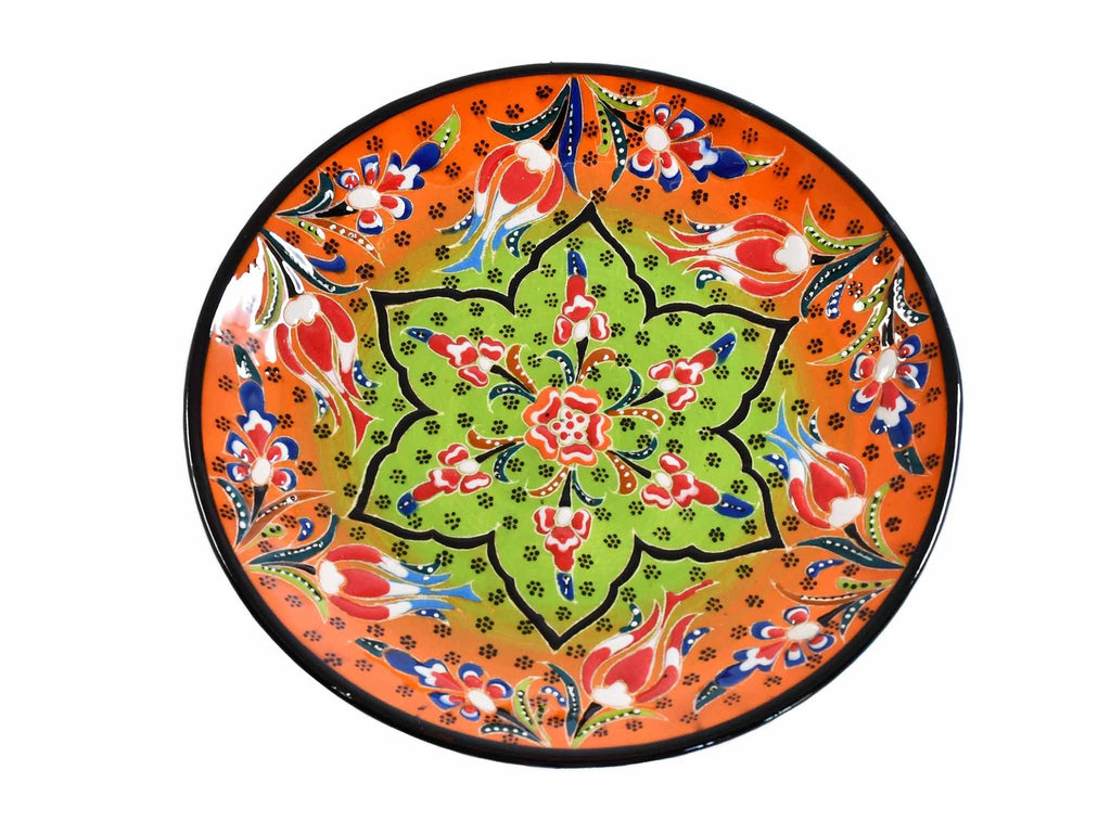 18 cm Turkish Plate Flower Round Collection Orange Ceramic Sydney Grand Bazaar 1