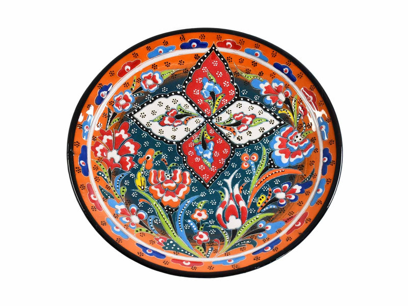 18 cm Turkish Plate Flower Round Collection Orange Ceramic Sydney Grand Bazaar 2