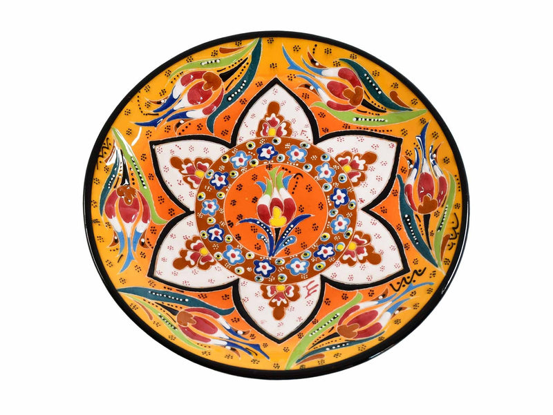18 cm Turkish Plate Flower Round Collection Yellow Ceramic Sydney Grand Bazaar 1