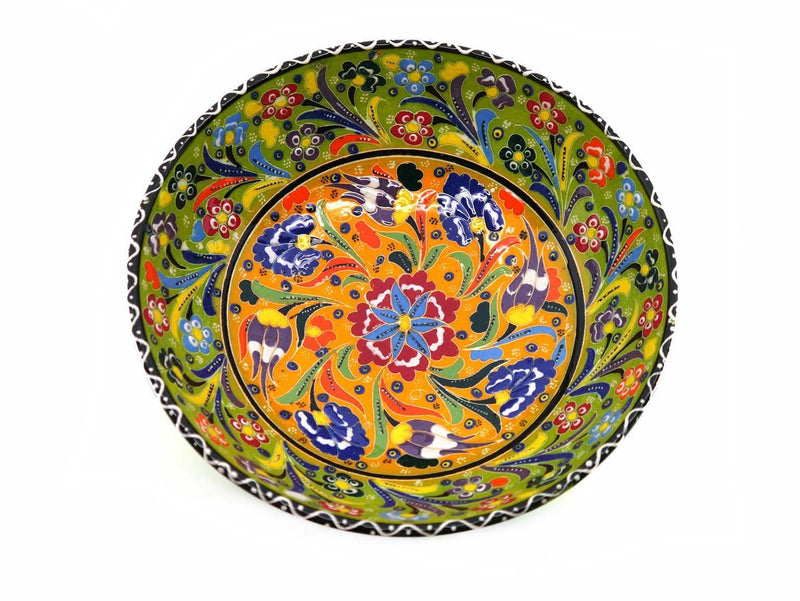 turkish ceramic bowl 20cm flower light green