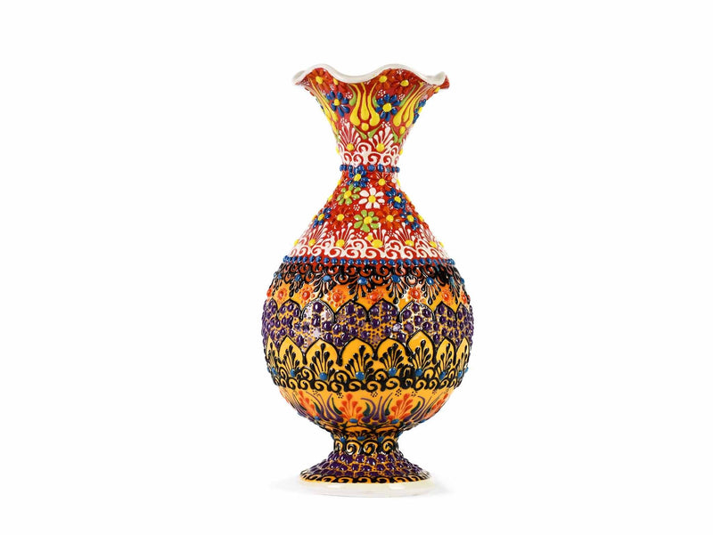 25 cm Turkish Ceramic Vase Dantel Red Yellow Ceramic Sydney Grand Bazaar