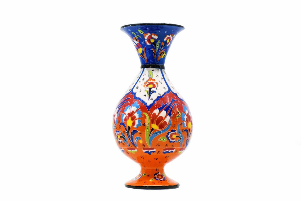 25 cm Turkish Ceramic Vase Flower Blue Orange