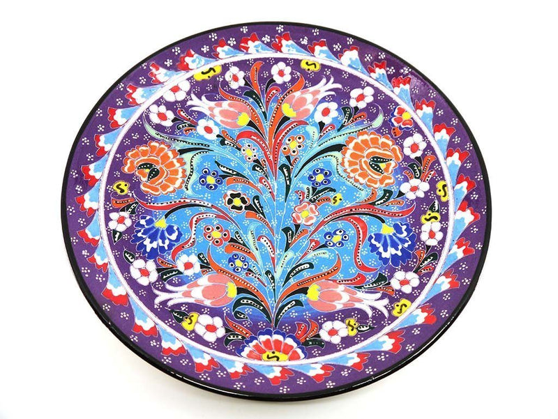 25 cm Turkish Plate Flower Collection Purple