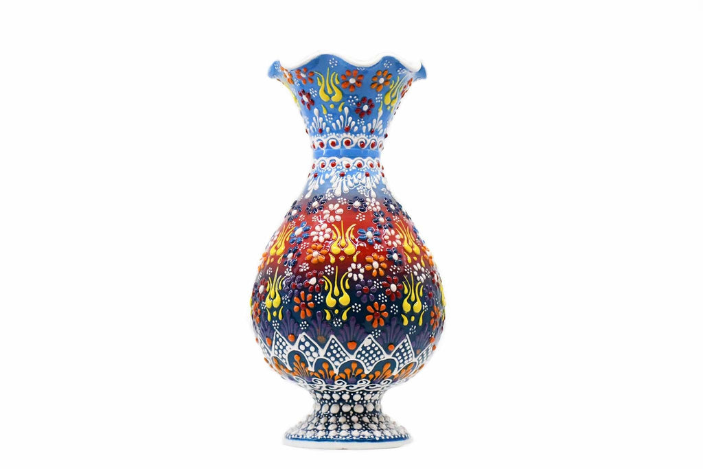 25 cm turkish ceramic vase dantel light blue green colour