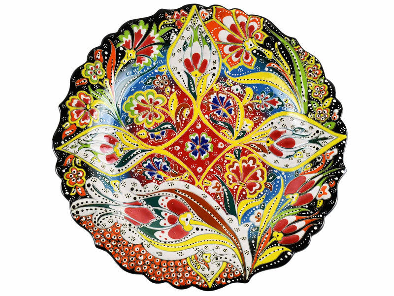 30 cm Turkish Plate Daisy Shaped Flower Collection Black Ceramic Sydney Grand Bazaar 3