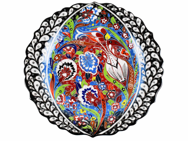 30 cm Turkish Plate Daisy Shaped Flower Collection Black Ceramic Sydney Grand Bazaar 2