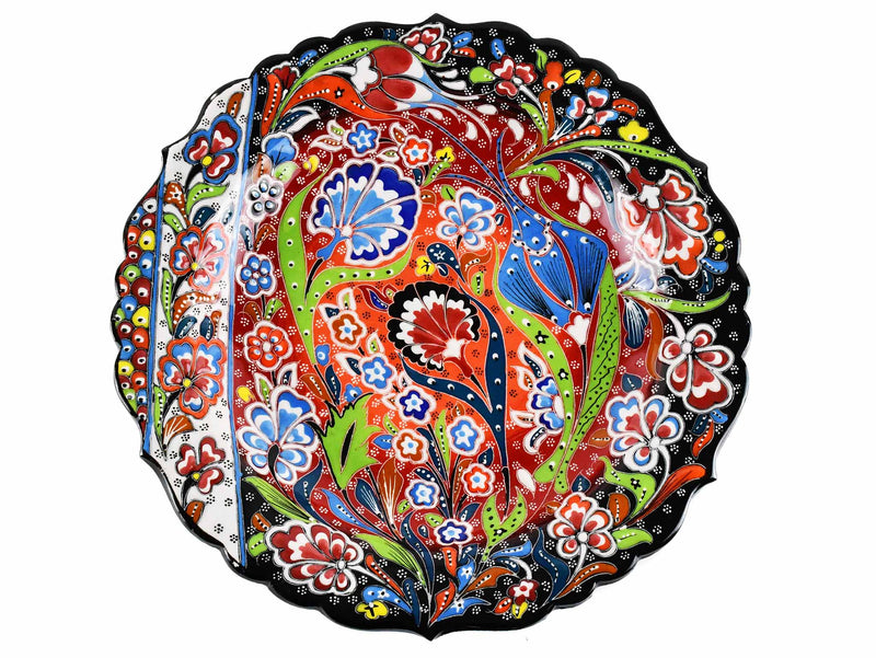 30 cm Turkish Plate Daisy Shaped Flower Collection Black Ceramic Sydney Grand Bazaar 1
