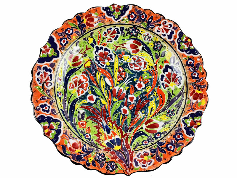 30 cm Turkish Plate Daisy Shaped Flower Collection Orange Ceramic Sydney Grand Bazaar