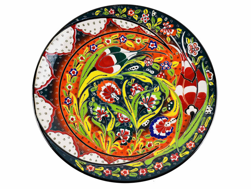 30 cm Turkish Plate Flower Collection Green Ceramic Sydney Grand Bazaar 1