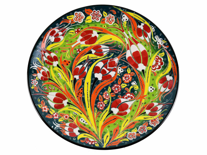 30 cm Turkish Plate Flower Collection Green Ceramic Sydney Grand Bazaar 2