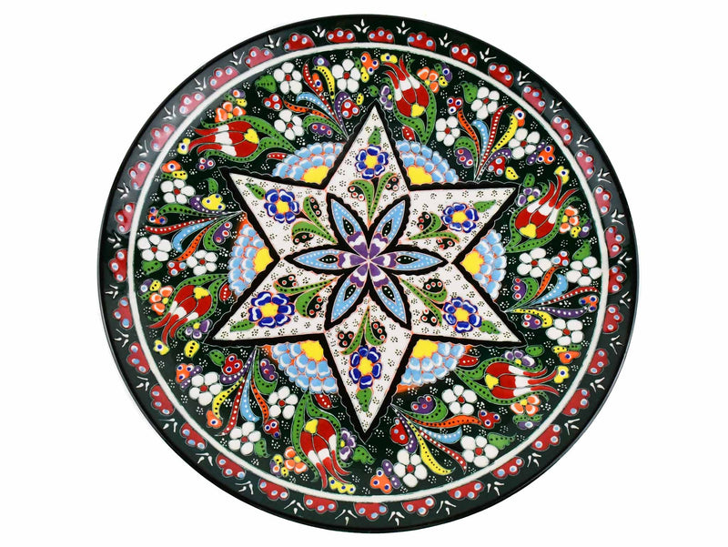 30 cm Turkish Plate Flower Collection Green Ceramic Sydney Grand Bazaar 6