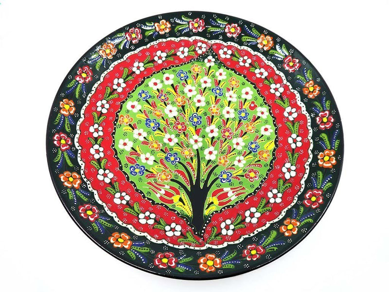 turkish plate round tree of life green large