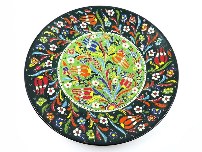 turkish plate round flower green large