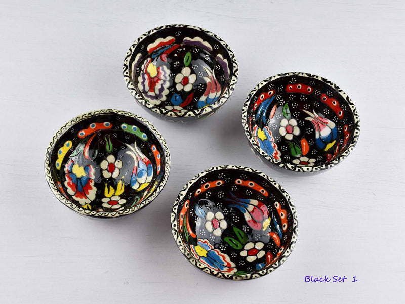 5 cm Turkish Bowl Flower Collection Set of 4 Ceramic Sydney Grand Bazaar Black 1