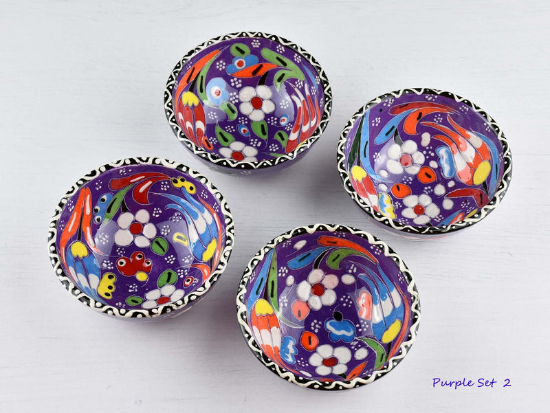 5 cm Turkish Bowl Flower Collection Set of 4 Ceramic Sydney Grand Bazaar Purple 2