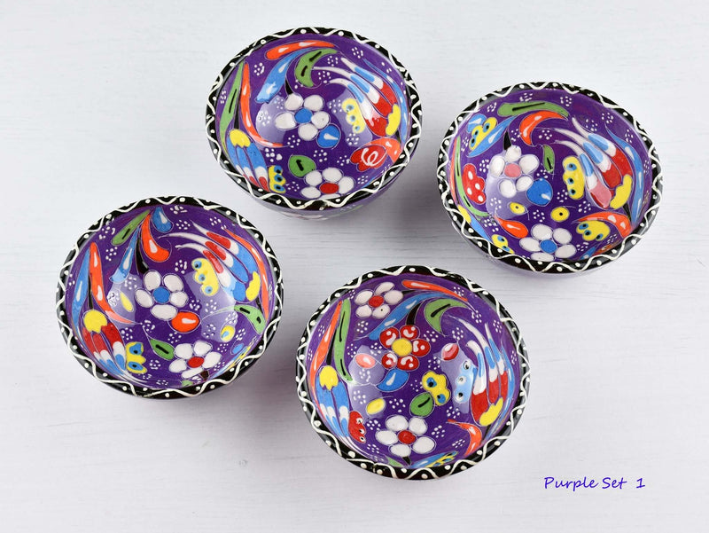 5 cm Turkish Bowl Flower Collection Set of 4 Ceramic Sydney Grand Bazaar Purple 1