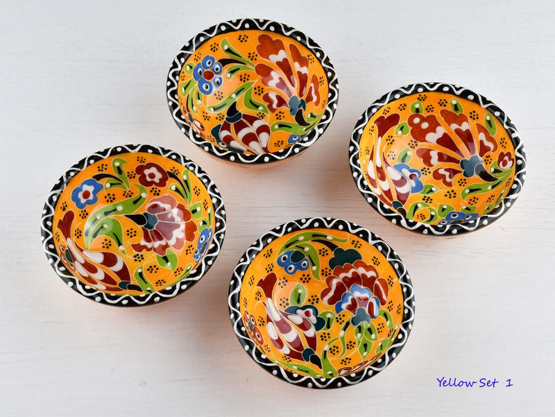 5 cm Turkish Bowl Flower Collection Set of 4 Ceramic Sydney Grand Bazaar Yellow 1