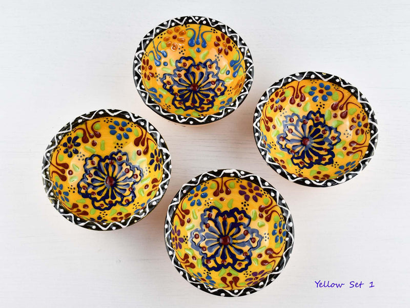 5 cm Turkish Bowls Dantel Nimet Set of 4 Ceramic Sydney Grand Bazaar Yellow 1