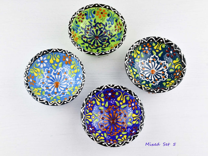 5 cm Turkish Bowls Dantel Nimet Set of 4 Ceramic Sydney Grand Bazaar Mixed set 5