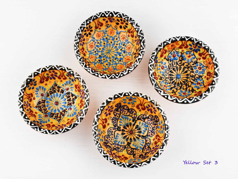 5 cm Turkish Bowls Dantel Nimet Set of 4 Ceramic Sydney Grand Bazaar Yellow 3