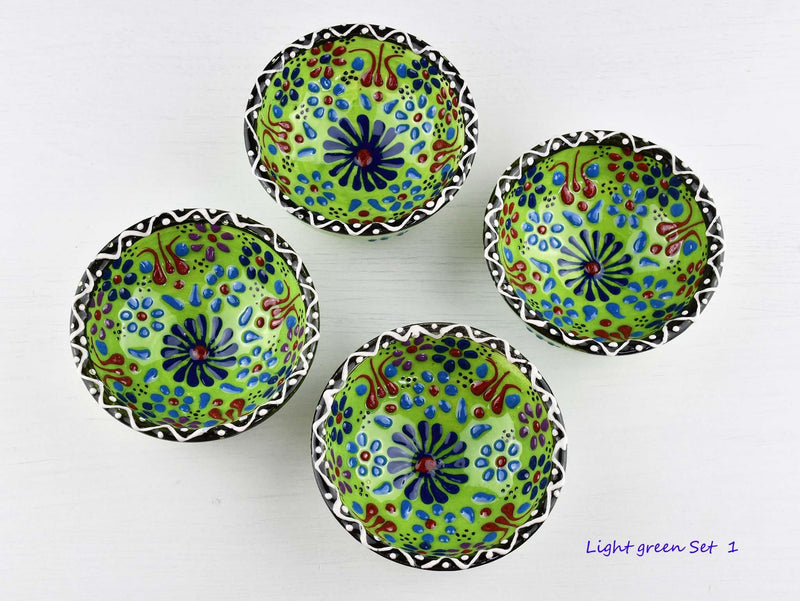 5 cm Turkish Bowls Dantel Nimet Set of 4 Ceramic Sydney Grand Bazaar Light green 1